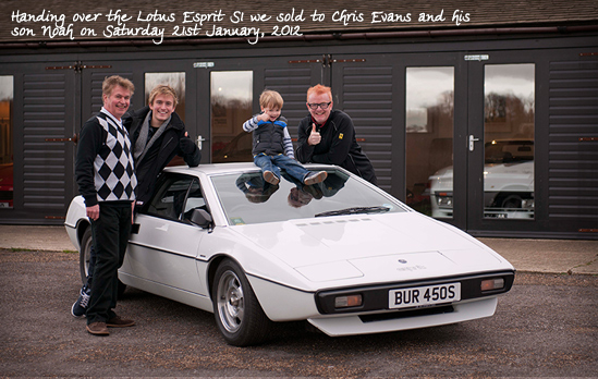Handing over the Lotus Esprit S1 we sold to Chris Evans and his son Noah on Saturday 21st January, 2012